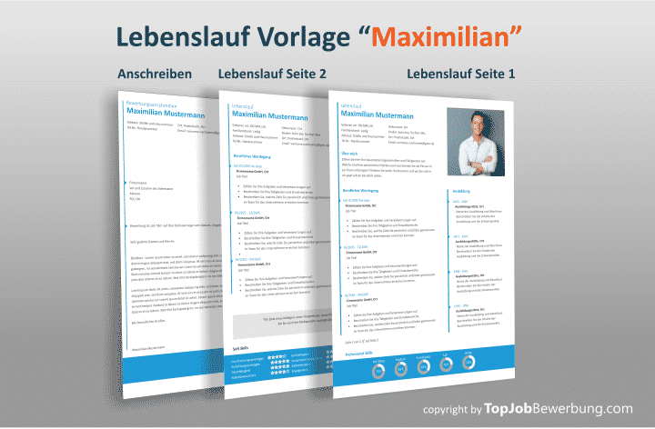 Lebenslauf Design Vorlage Maximilian mit Anschreiben
