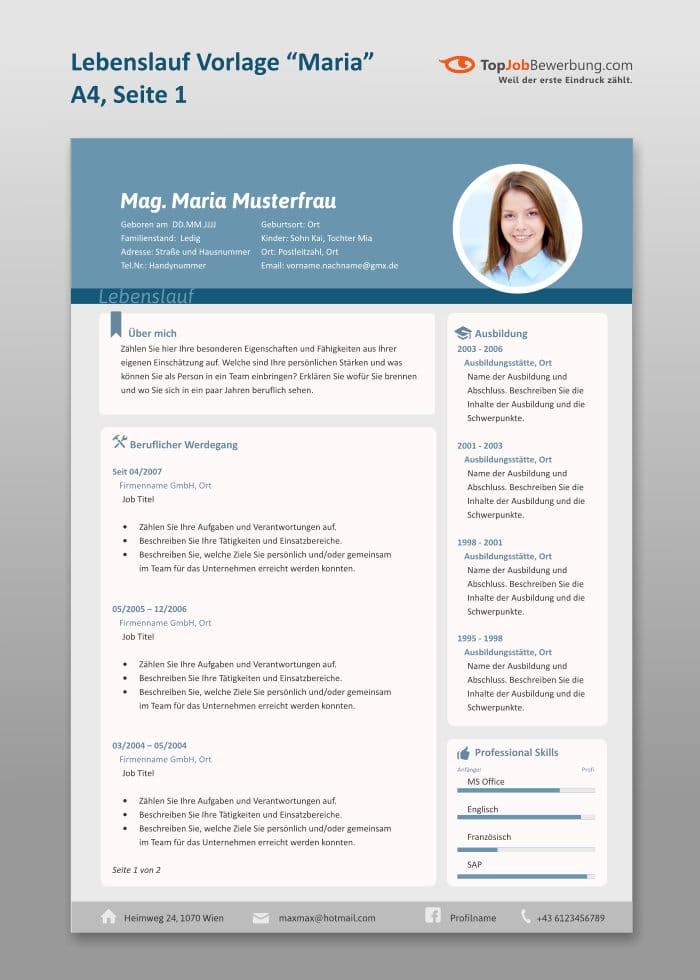 """Profi Lebenslauf Muster Vorlage """"Maria"""" für erfoglreiche Job Bewerbungen. Handmade mit Ihren Lebenslauf Daten"""