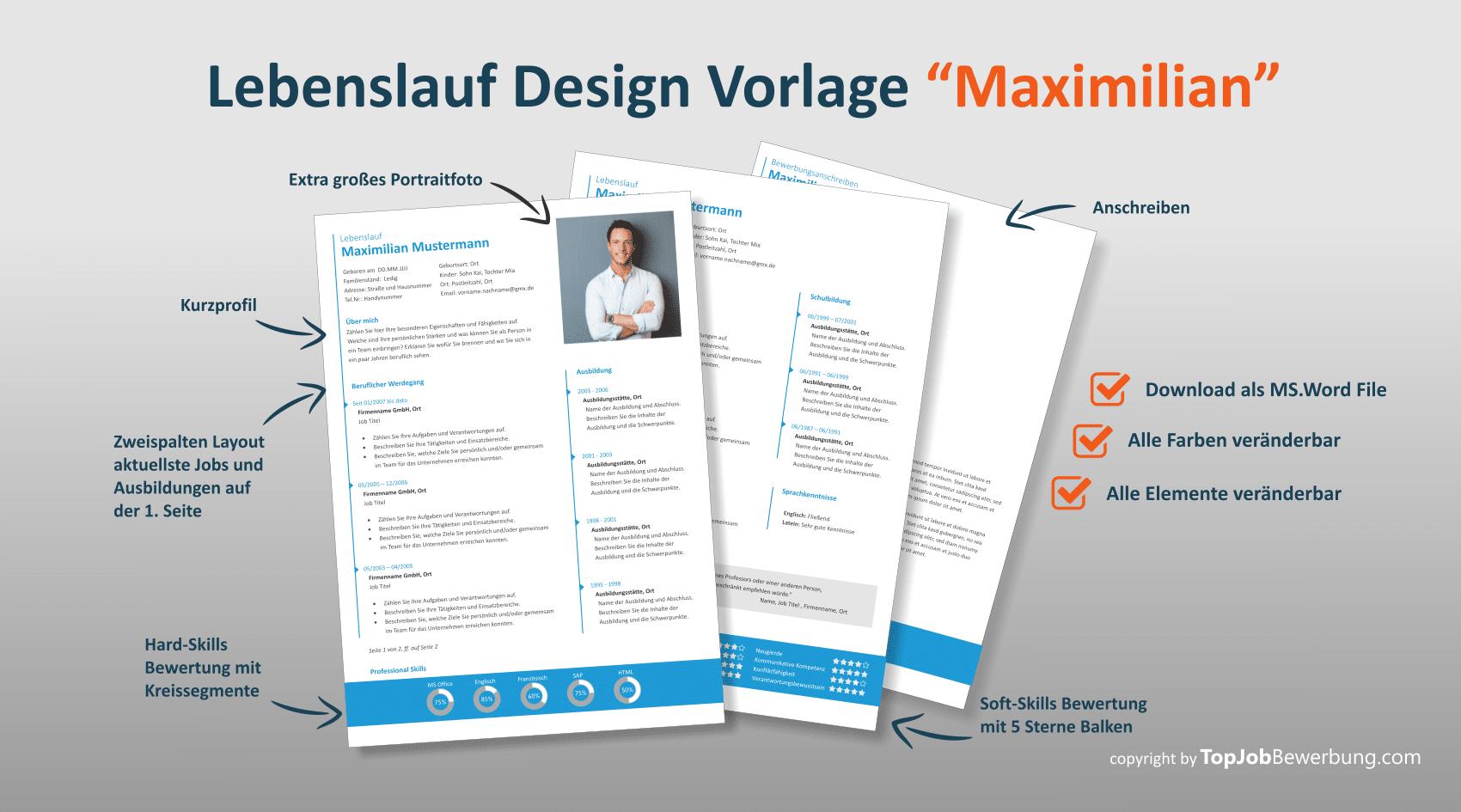 """Professionelle Lebenslauf Design Vorlage """"Maximilian"""""""