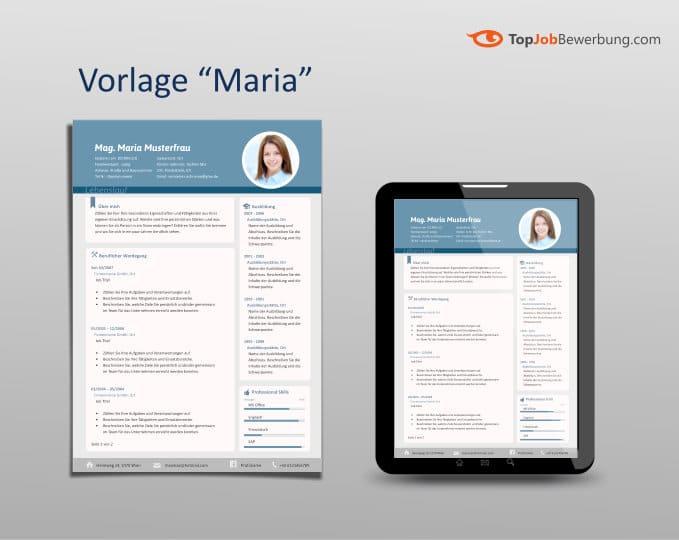 """Lebenslauf Vorlage Design """"Maria"""" Ansicht A4 und auf Tablet"""