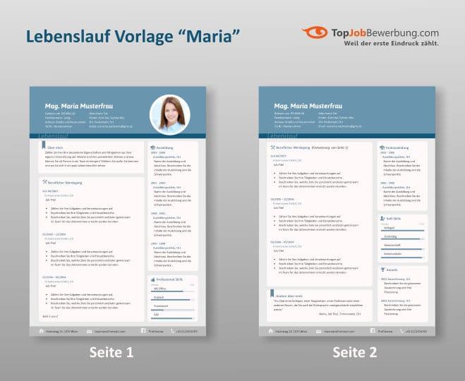 Lebenslauf Muster Vorlage Maria, zwei A4 Seiten im zwei Spalten Layout