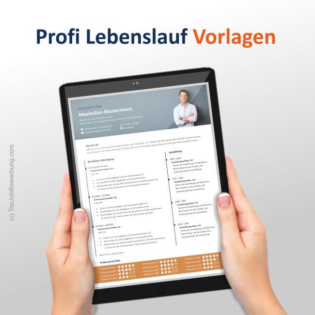 Ansicht der Lebenslauf Design Vorlage am iPad