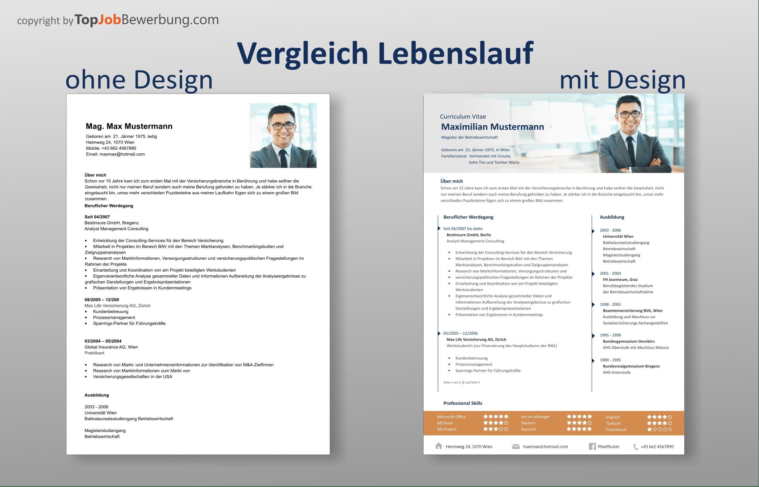 Vergleich Lebenslauf ohne Design und mit Profi Design