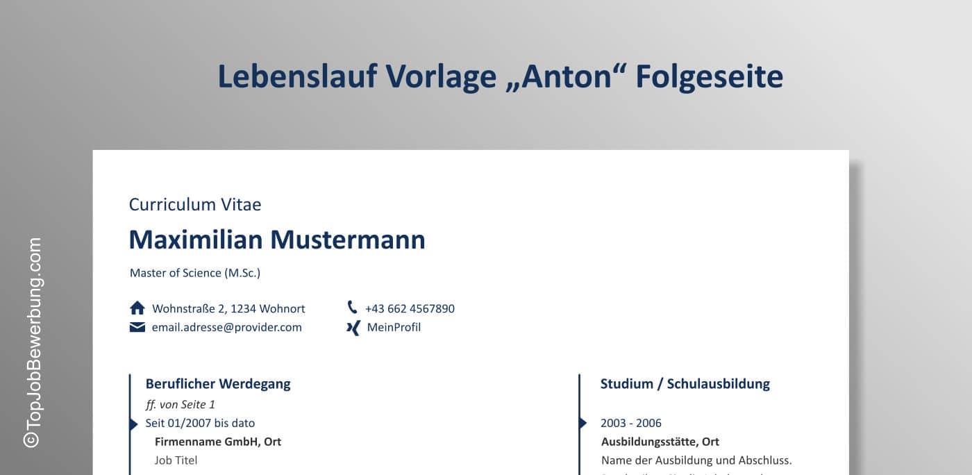 Lebenslauf Vorlage Anton Folgeseite