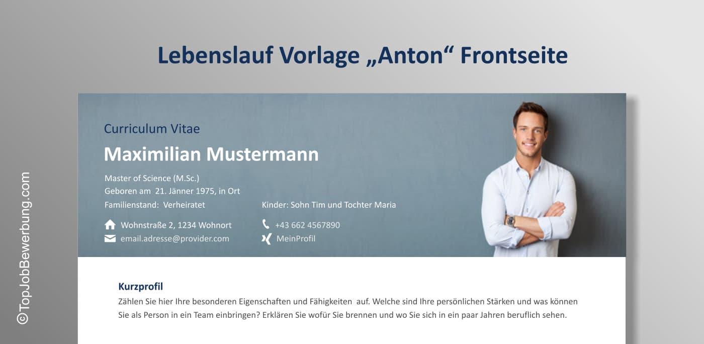 Lebenslauf Vorlage Anton Frontseite