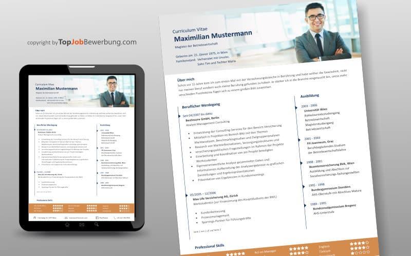 Lebenslauf Vorlage Beispiel für Manager oder Key-Account