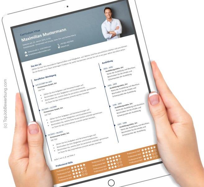 Lebenslauf Vorlage am iPad