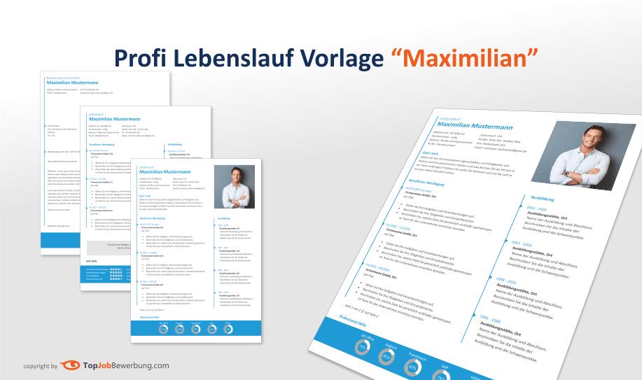 Ansicht Lebenslauf Design Vorlage Maximilian mit Folgeseite und Anschreiben