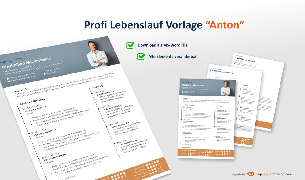 Profi Lebenslauf Vorlage Anton Für Erfolgreiche Bewerbungen