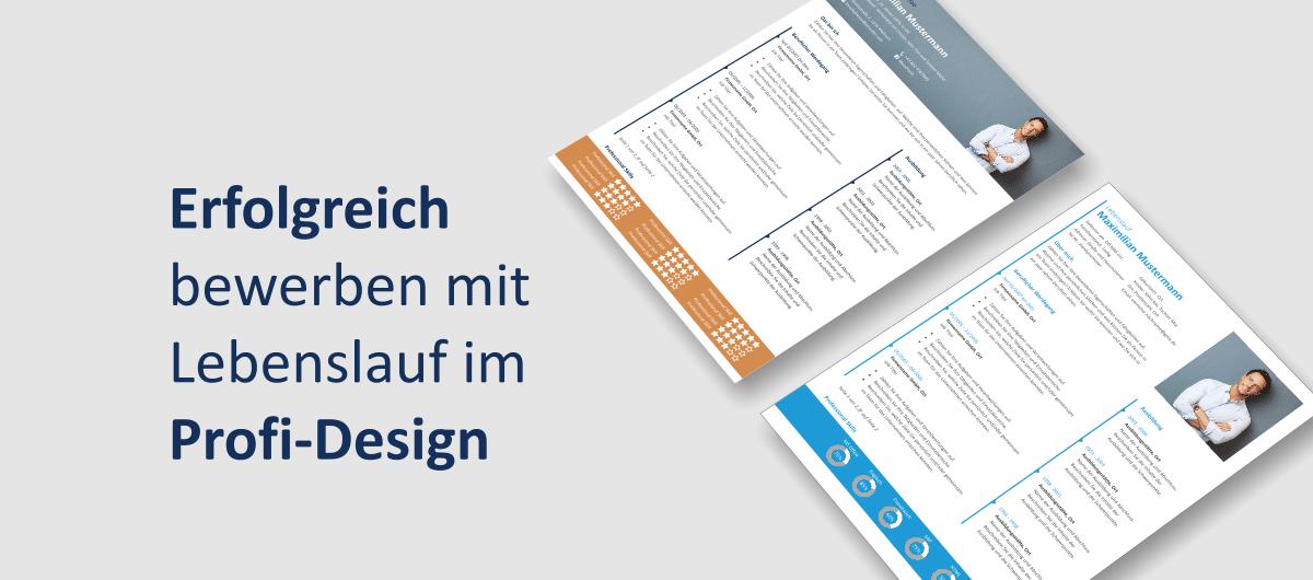 """Lebenslauf Vorlagen """"Anton"""" und Lebenslauf Vorlage """"Maximilian"""" in Schrägansicht"""