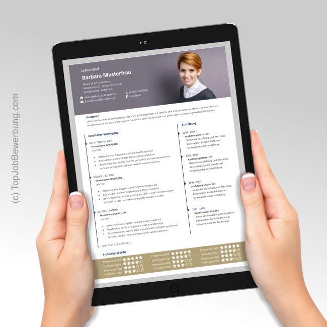 Lebenslauf Vorlage Alex, Ansicht am iPad