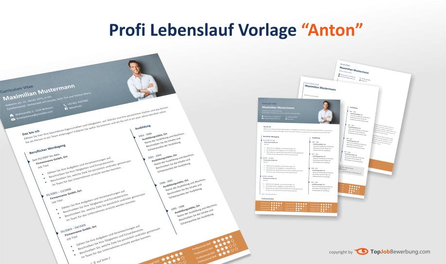 """Ansicht der Lebenslauf Vorlage """"Anton"""" für MS-Word"""